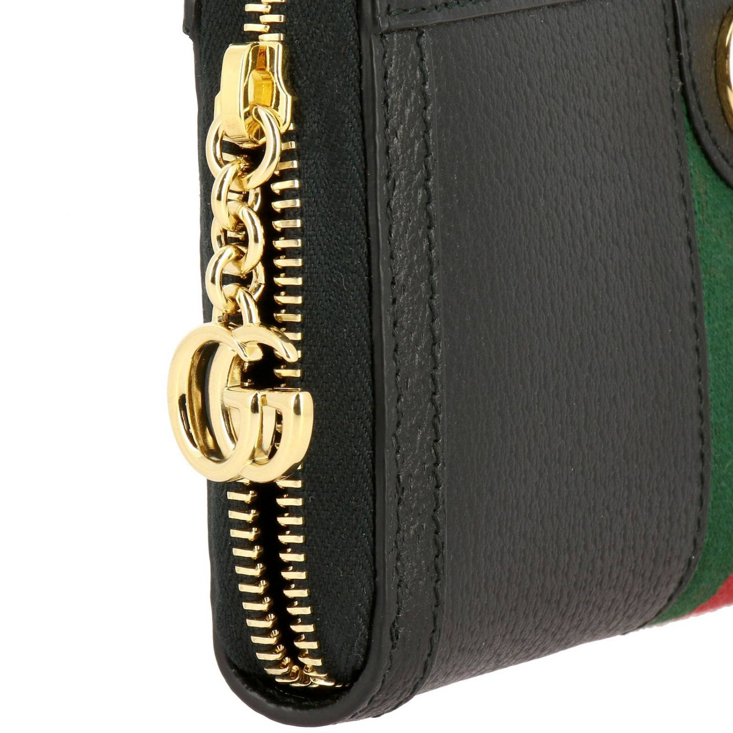 Wallet Gucci: Ophidia Gucci textured leather wallet with Web band and GG monogram black 4