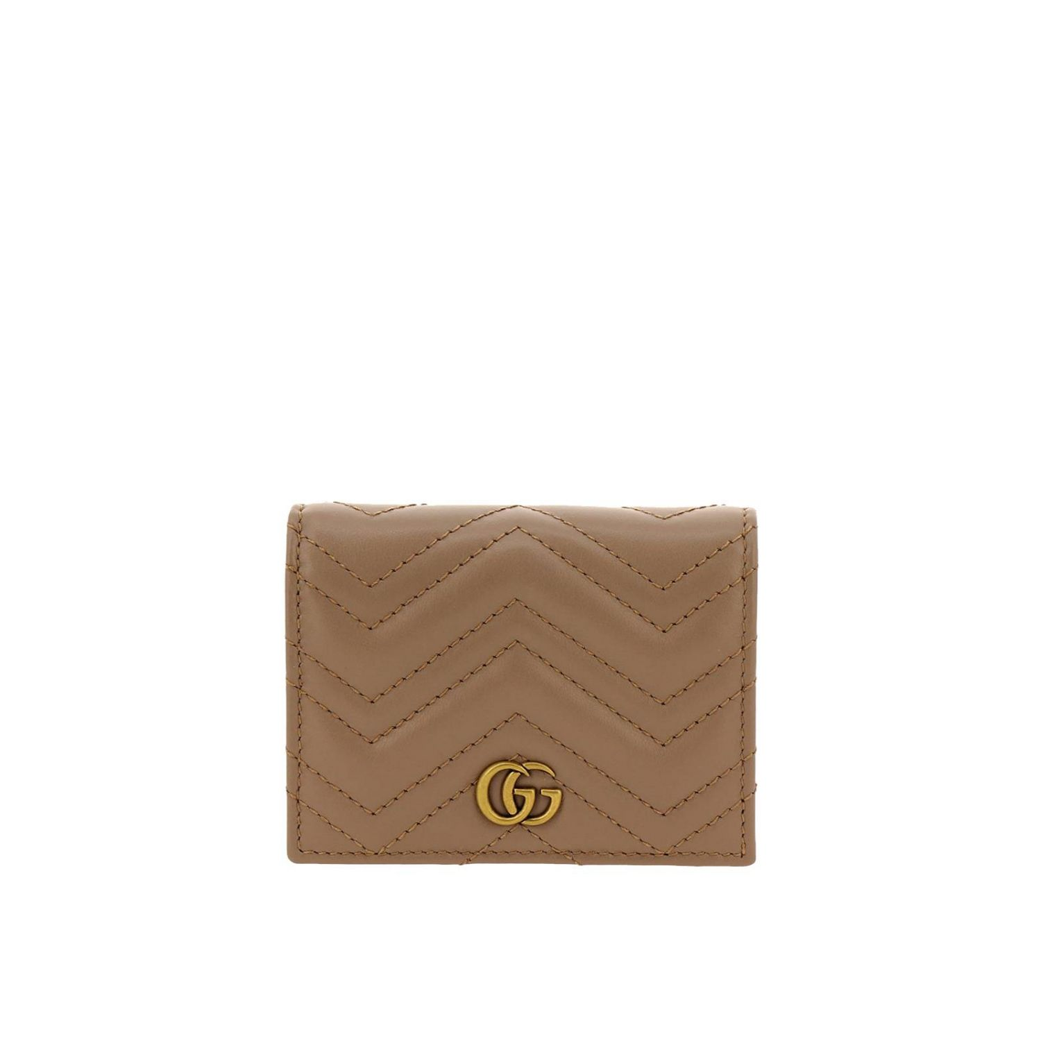 Wallet Gucci: GG Marmont quilted leather walletwith coin holder and Gucci monogram beige 1