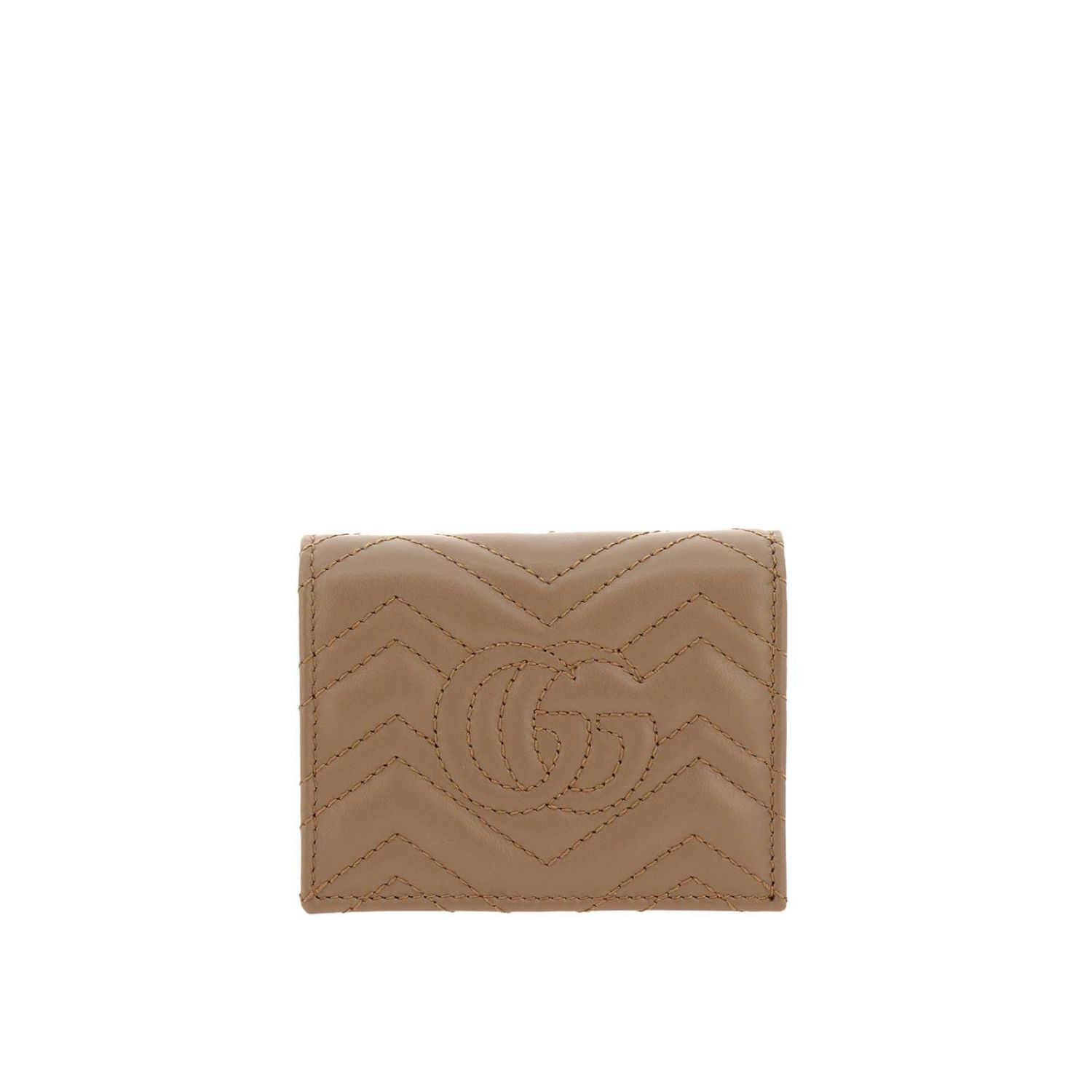 Wallet Gucci: GG Marmont quilted leather walletwith coin holder and Gucci monogram beige 3