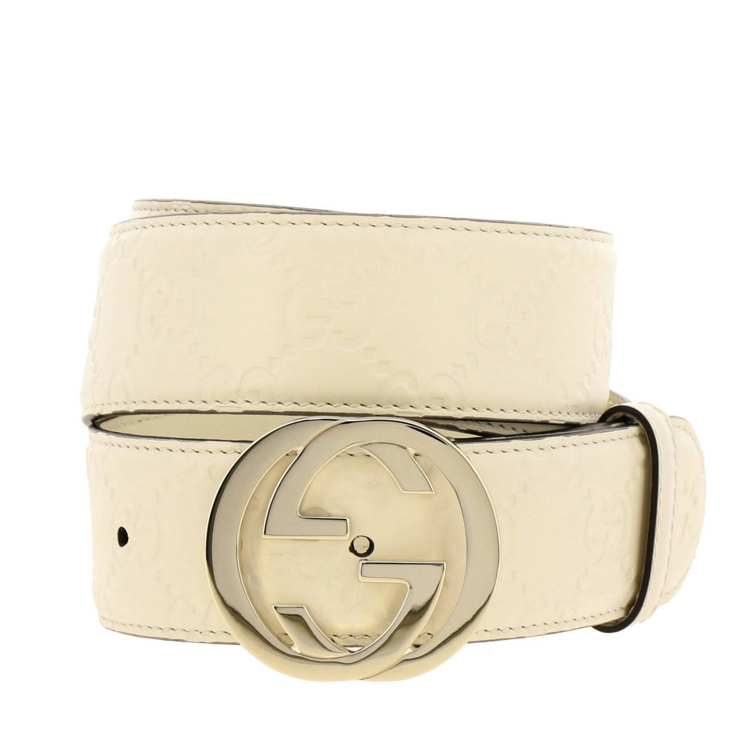 Cintura in pelle GG Gucci embossed con fibbia interlocking bianco 1