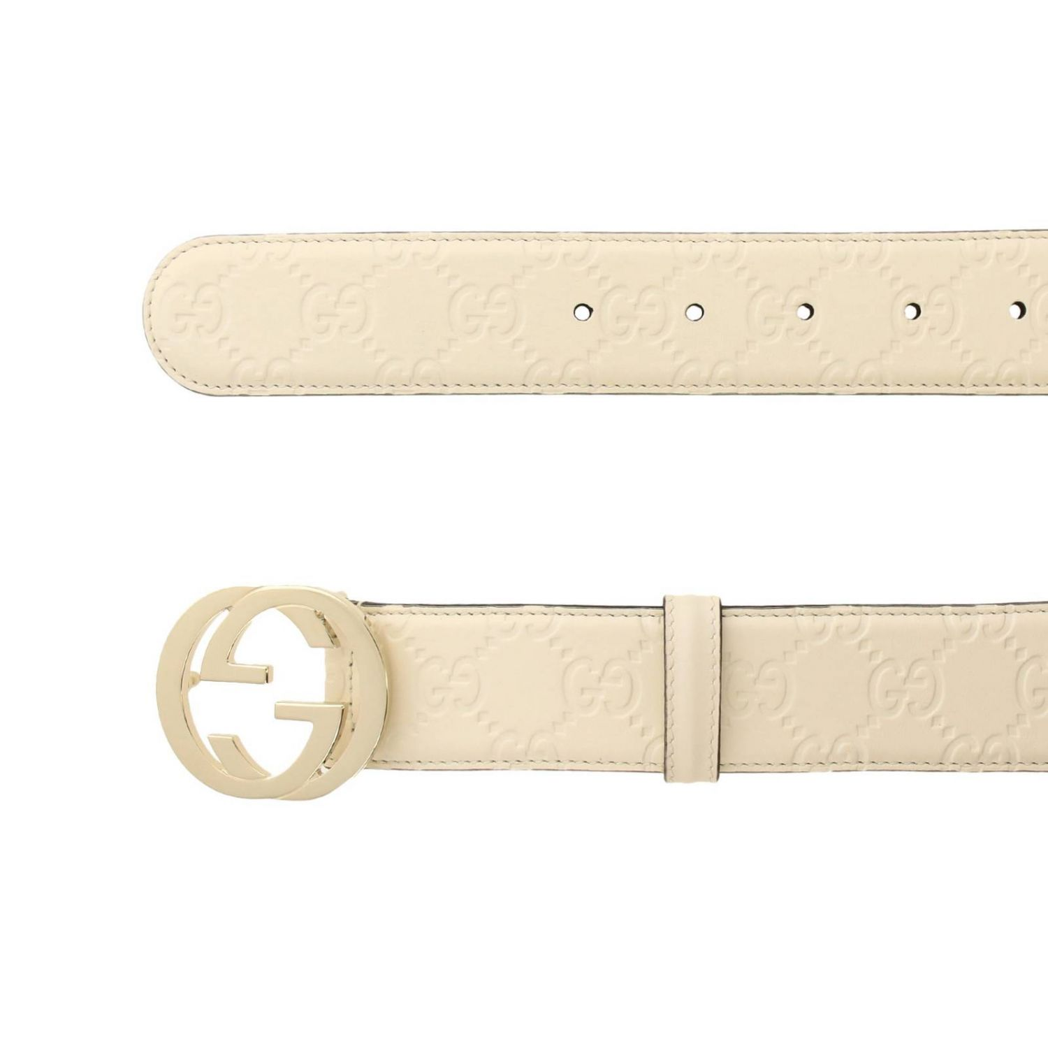 Cintura in pelle GG Gucci embossed con fibbia interlocking bianco 2