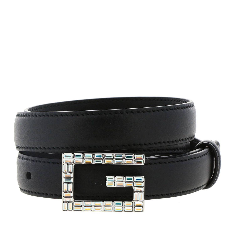 Cintura in pelle Gucci con fibbia di strass nero 1