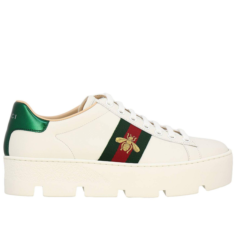 Sneakers New Ace platform in pelle liscia con fasce Web Gucci e ricamo lurex Ape bianco 1