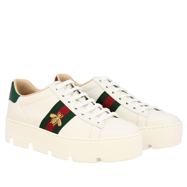 Sneakers New Ace platform in pelle liscia con fasce Web Gucci e ricamo lurex Ape bianco 2