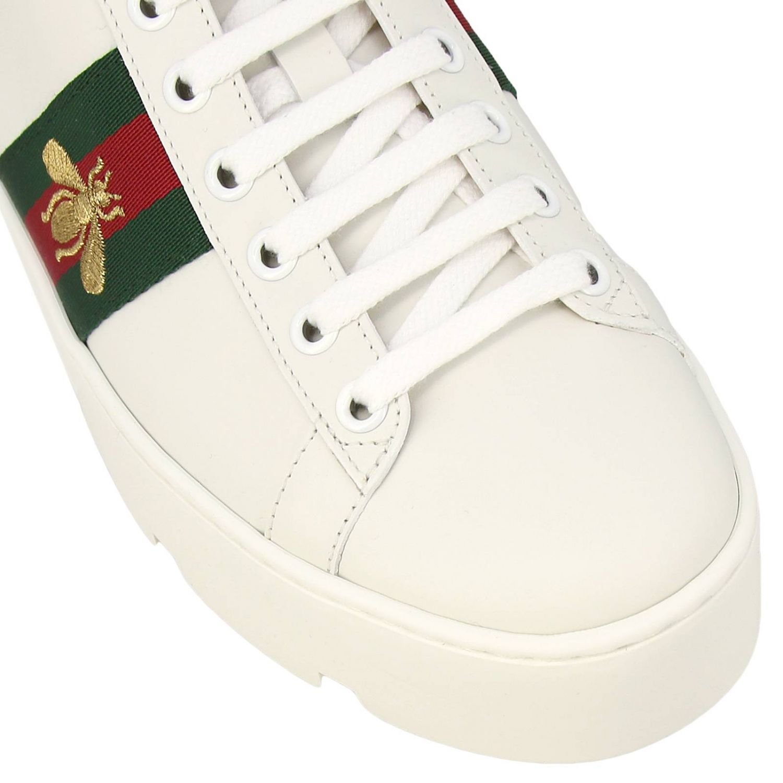 Sneakers New Ace platform in pelle liscia con fasce Web Gucci e ricamo lurex Ape bianco 3