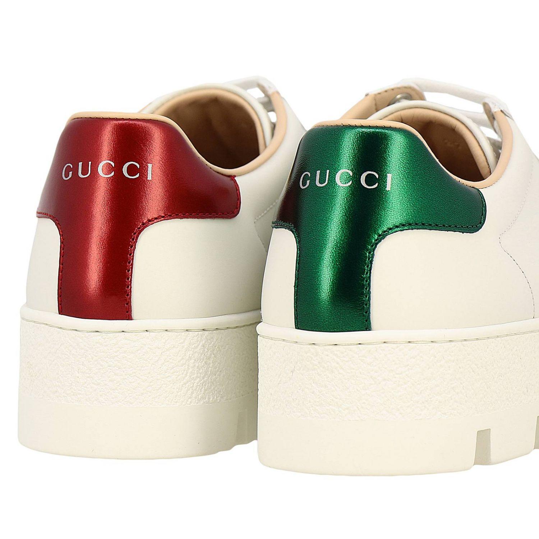 Sneakers New Ace platform in pelle liscia con fasce Web Gucci e ricamo lurex Ape bianco 4