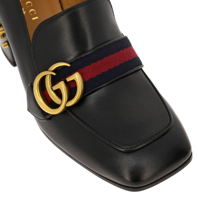 Peyton Gucci Pumps aus echtem Leder mit Gucci Webband und Monogramm schwarz 3