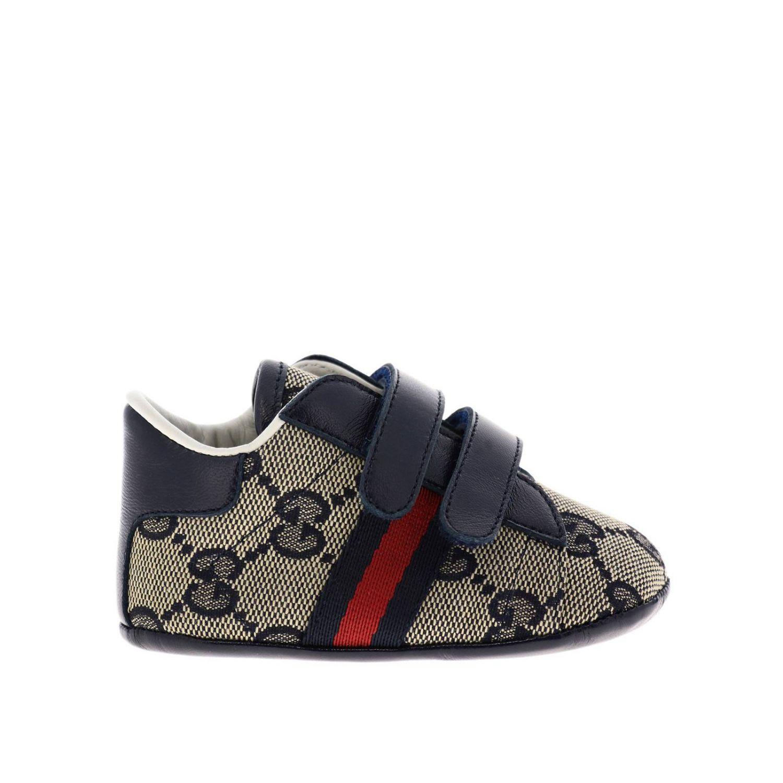 Обувь Gucci: Кроссовки Baby Ace Gucci GG Supreme с деталью Web на липучках синий 1