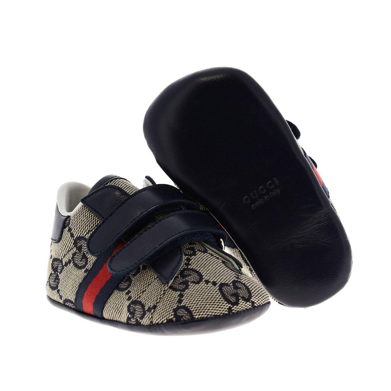 Обувь Gucci: Кроссовки Baby Ace Gucci GG Supreme с деталью Web на липучках синий 2