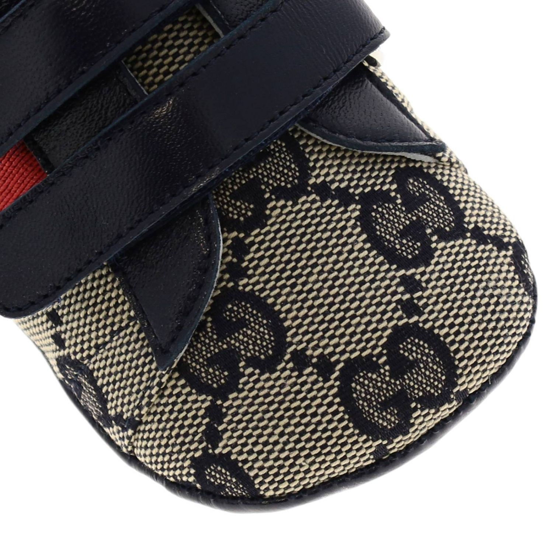 Обувь Gucci: Кроссовки Baby Ace Gucci GG Supreme с деталью Web на липучках синий 3