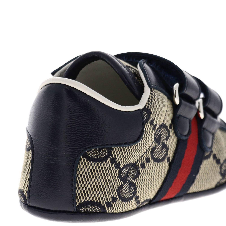 Обувь Gucci: Кроссовки Baby Ace Gucci GG Supreme с деталью Web на липучках синий 4
