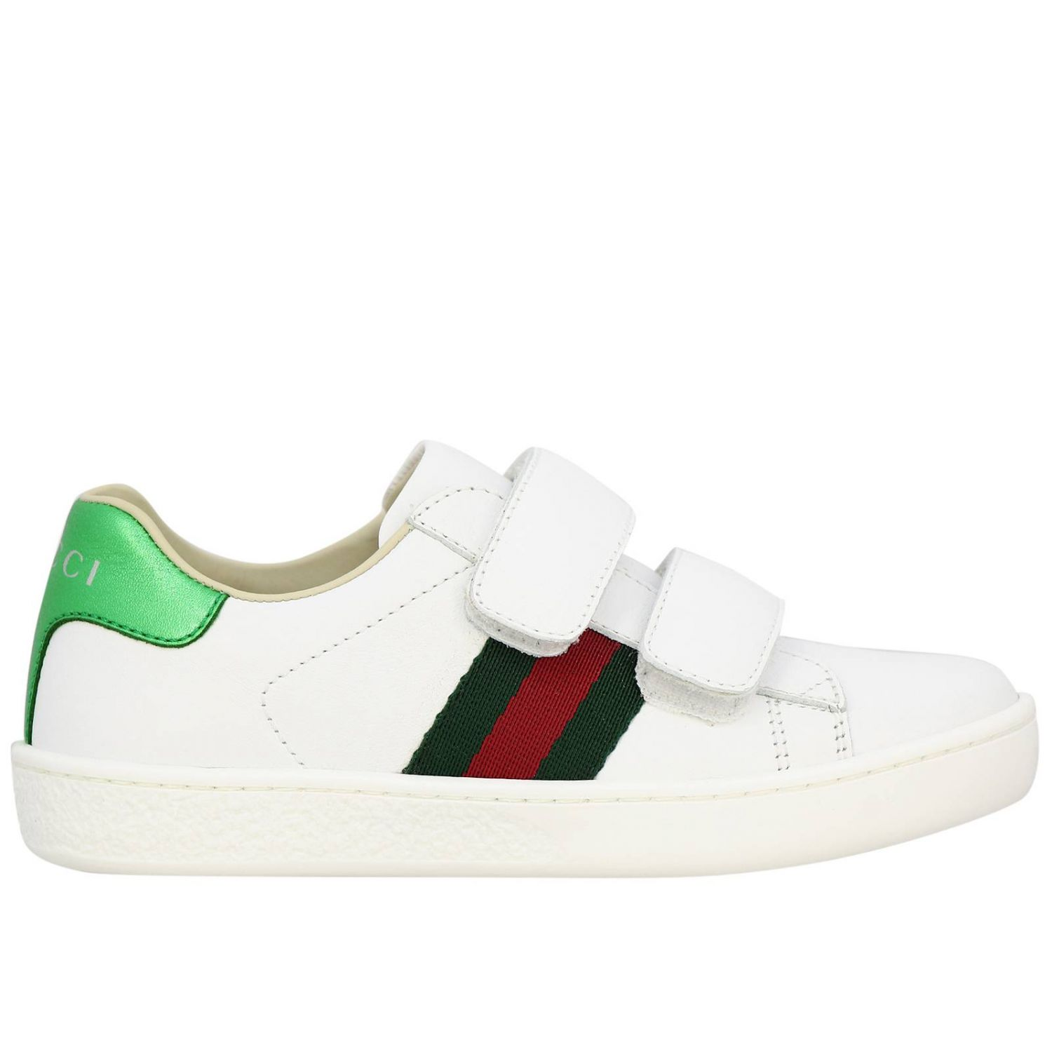 Zapatillas de cuero Ace Gucci con correas web y hebillas dobles blanco 1
