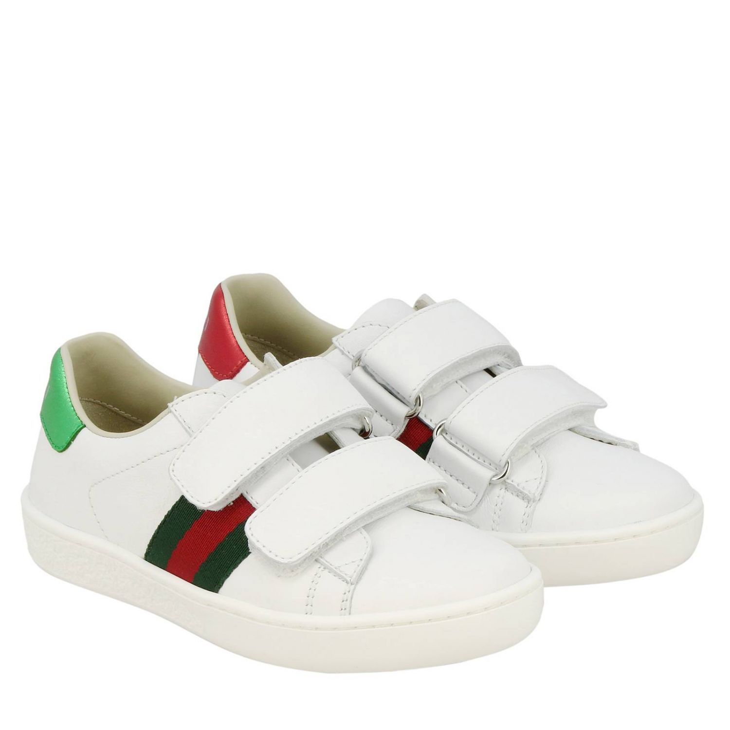 Zapatillas de cuero Ace Gucci con correas web y hebillas dobles blanco 2