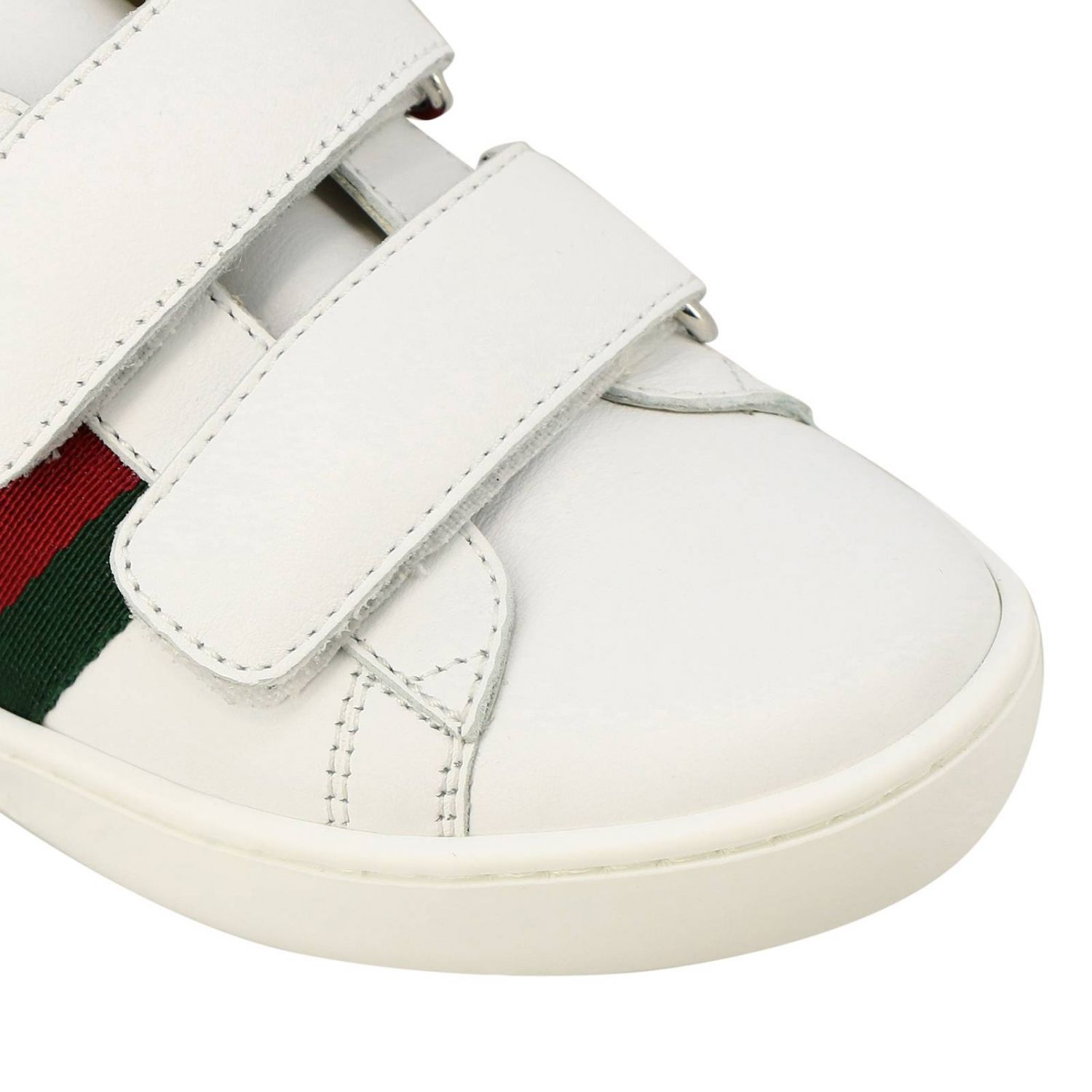 Zapatillas de cuero Ace Gucci con correas web y hebillas dobles blanco 3