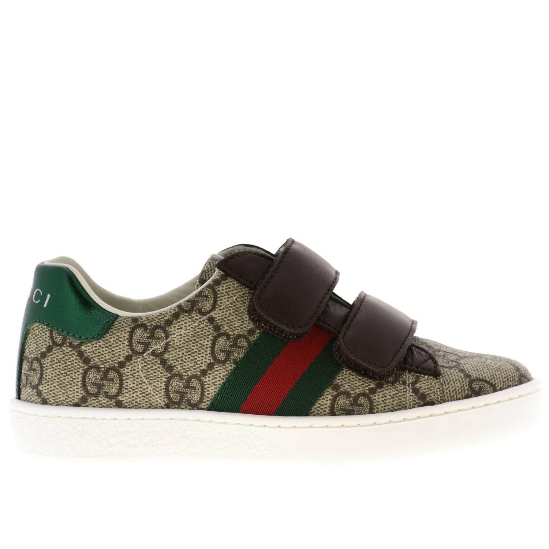 Sneakers Ace Gucci GG Supreme con fasce Web e doppie fibbie beige 1
