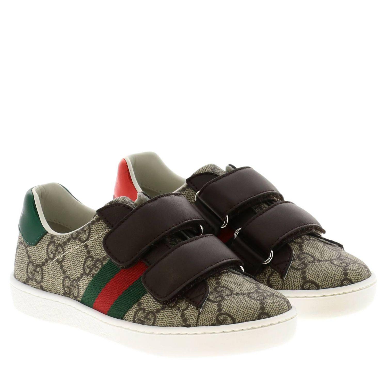 Sneakers Ace Gucci GG Supreme con fasce Web e doppie fibbie beige 2