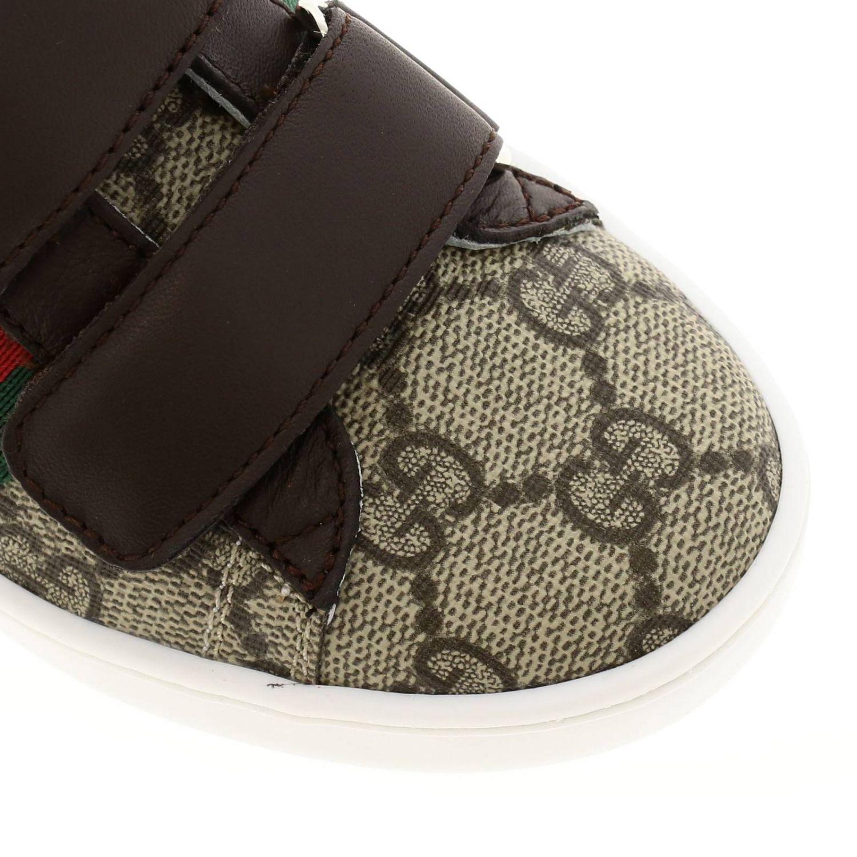 Sneakers Ace Gucci GG Supreme con fasce Web e doppie fibbie beige 3
