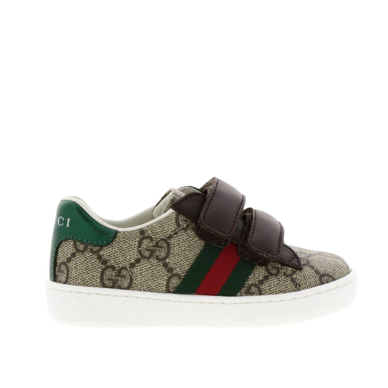 Zapatos Gucci: Zapatillas Gucci Ace Gucci Supreme con correas web y hebillas dobles beige 1
