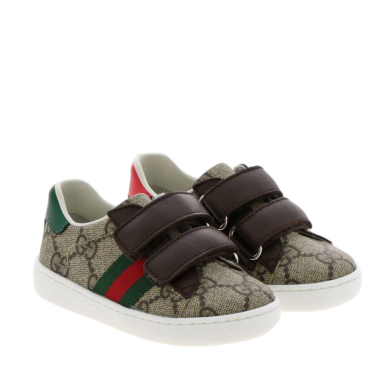Zapatos Gucci: Zapatillas Gucci Ace Gucci Supreme con correas web y hebillas dobles beige 2