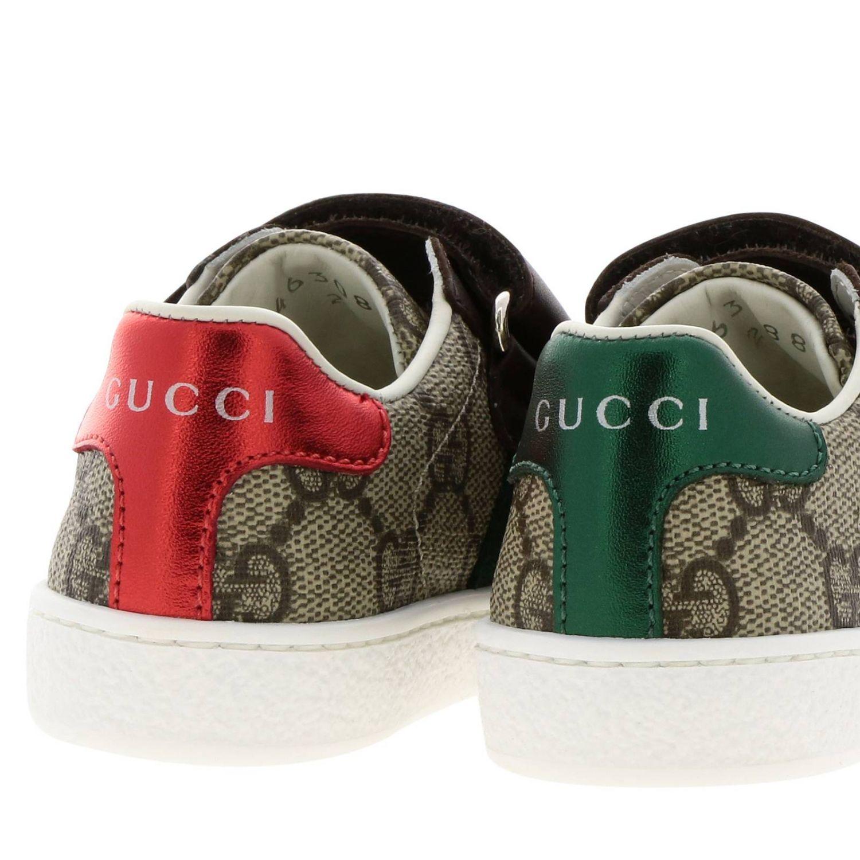 Zapatos Gucci: Zapatillas Gucci Ace Gucci Supreme con correas web y hebillas dobles beige 4