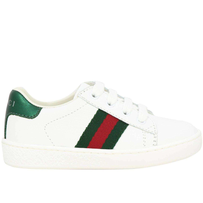 Sneakers Gucci in pelle con fasce Web bianco 1