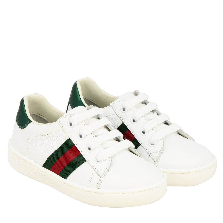 Sneakers Gucci in pelle con fasce Web bianco 2