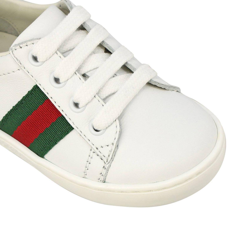 Sneakers Gucci in pelle con fasce Web bianco 3
