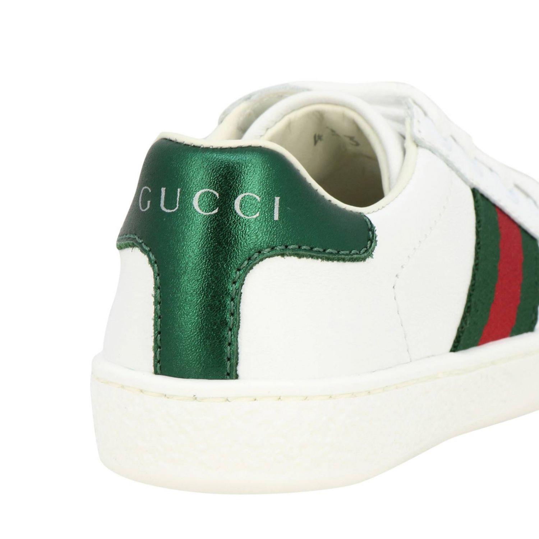 Sneakers Gucci in pelle con fasce Web bianco 4