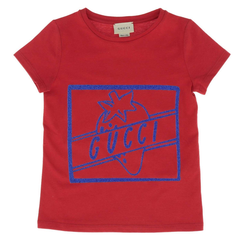 T-shirt Gucci a maniche corte con maxi stampa fragola rosso 1