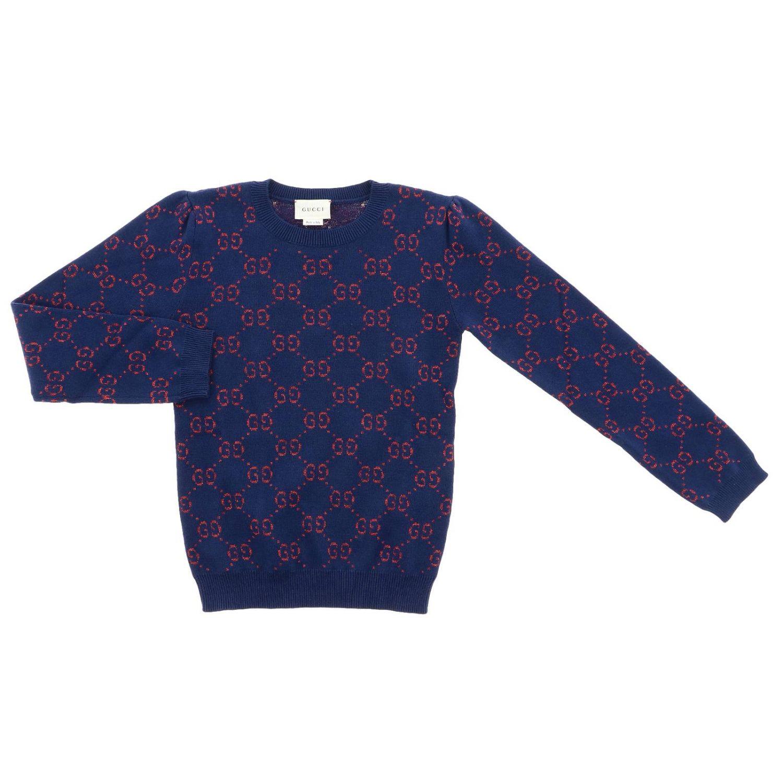 Pullover Gucci a girocollo con logo GG all over blue 1