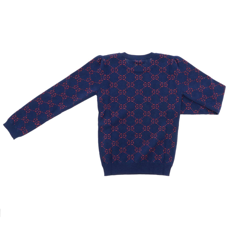 Pullover Gucci a girocollo con logo GG all over blue 2