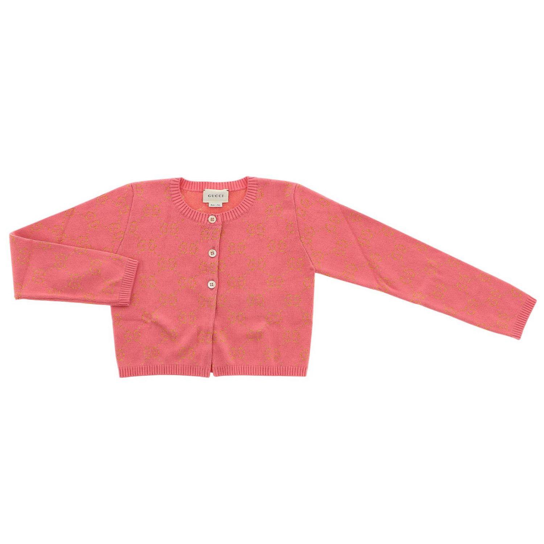 Cardigan Gucci a girocollo con logo GG all over rosa 1