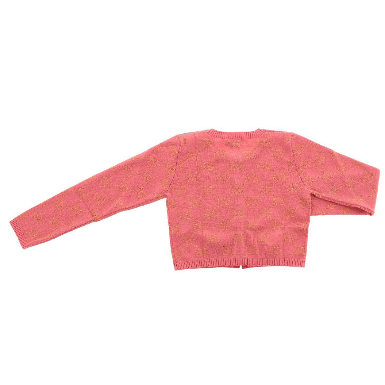 Cardigan Gucci a girocollo con logo GG all over rosa 2
