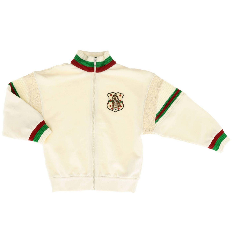 Felpa Gucci con bordi Web e logo bianco 1