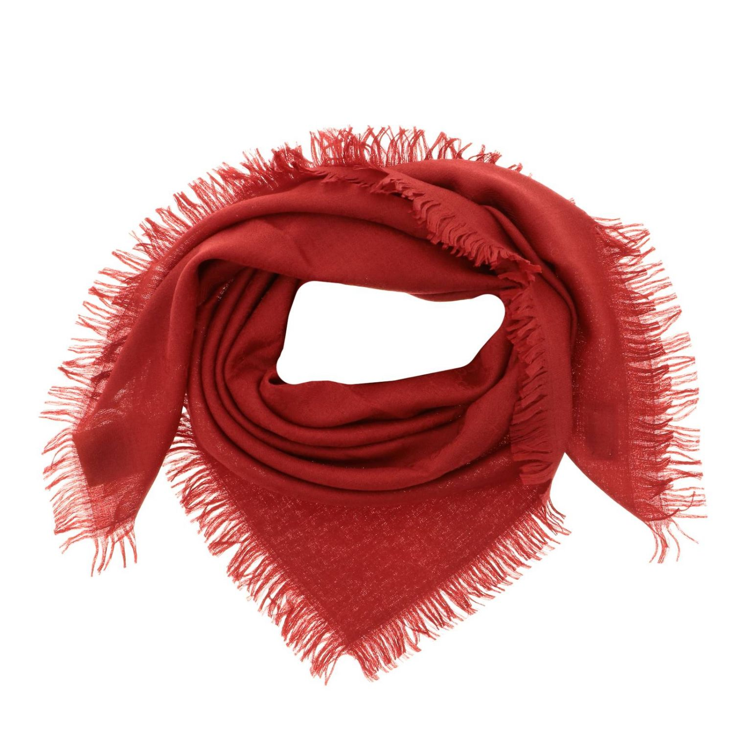 Gucci scarf in cotton wool and silk red 2