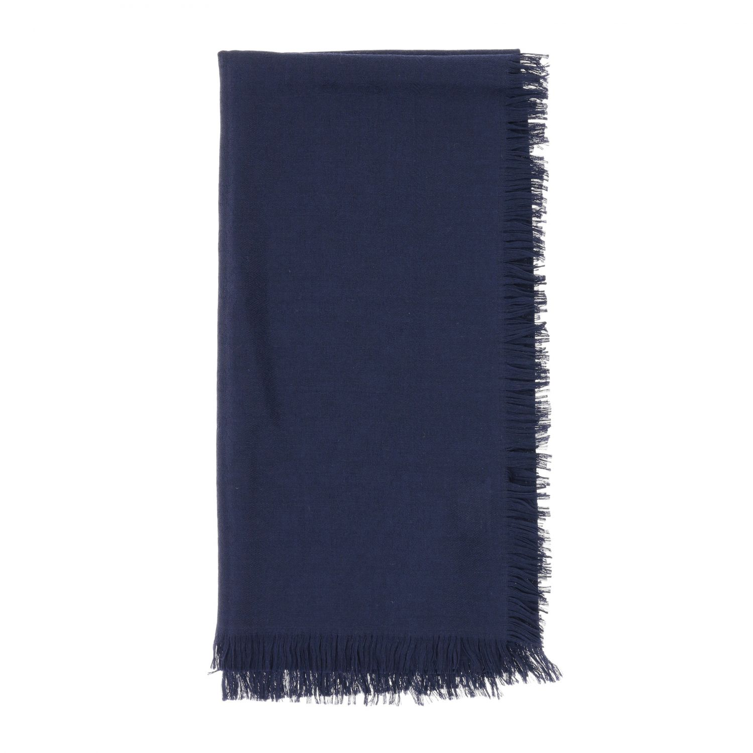 Gucci scarf in cotton wool and silk navy 1