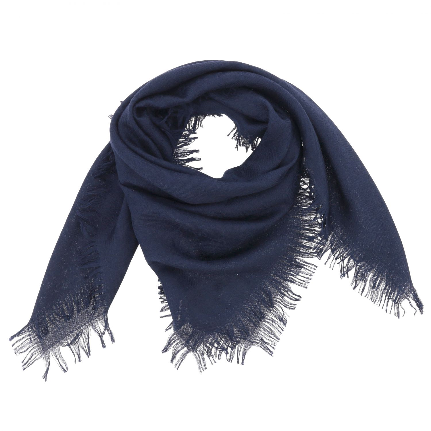 Gucci scarf in cotton wool and silk navy 2