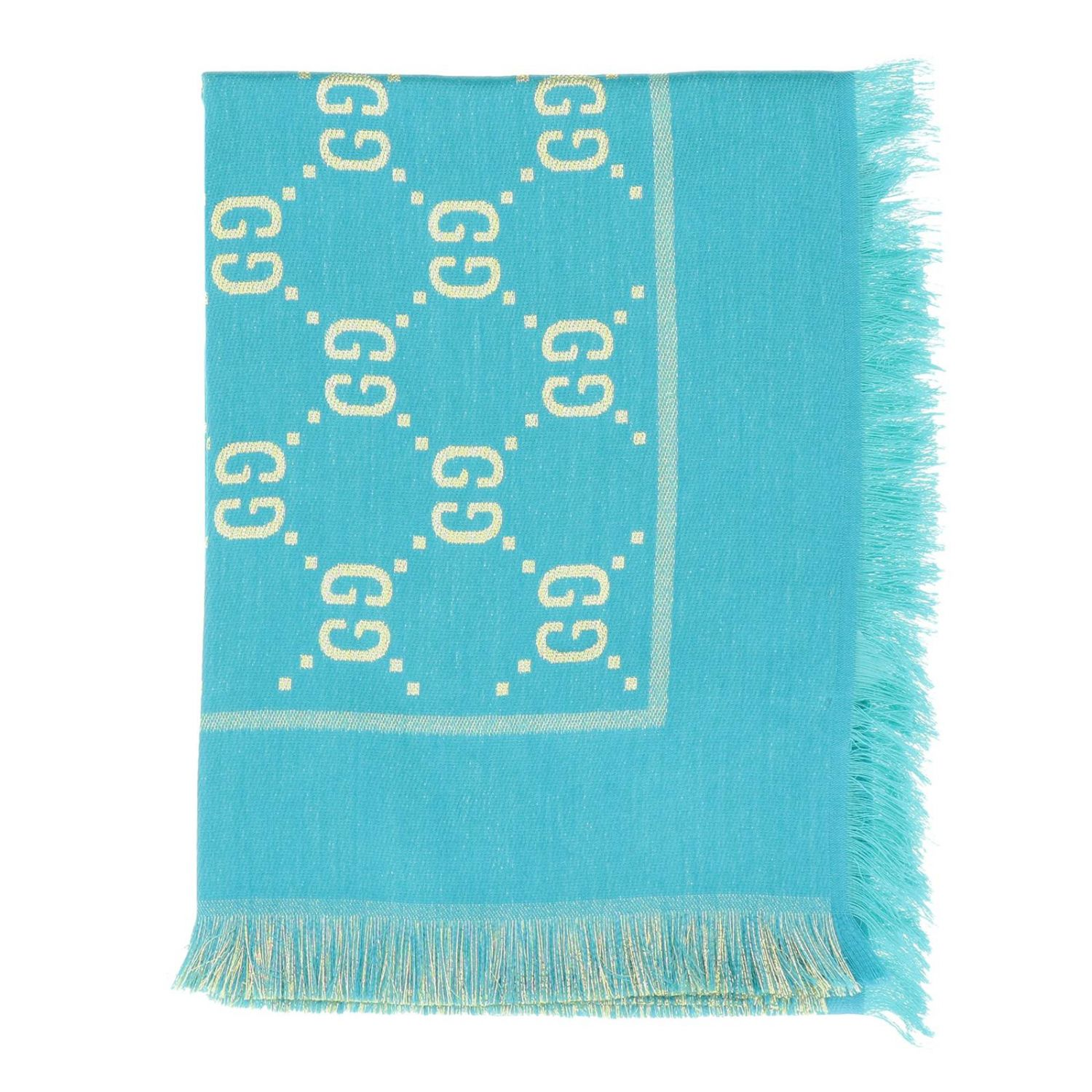 Gucci cotton wool and silk scarf with GG monogram turquoise 1