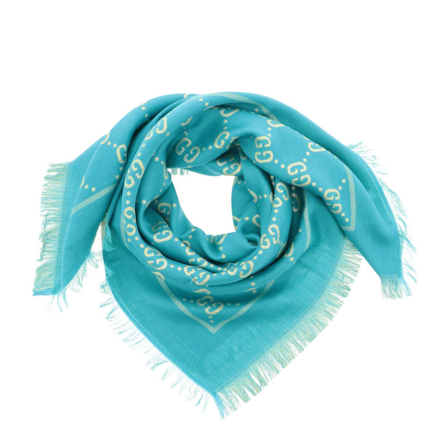 Gucci cotton wool and silk scarf with GG monogram turquoise 2