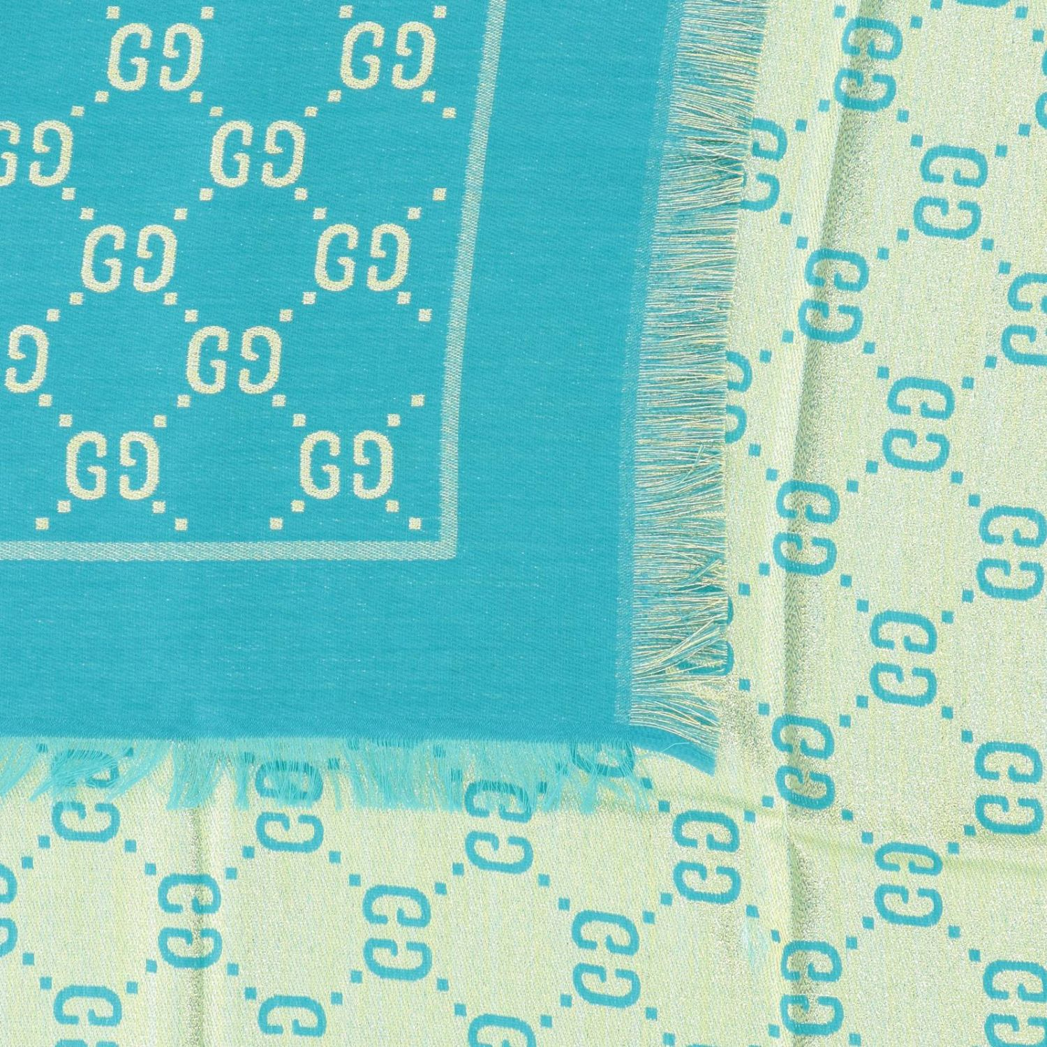 Gucci cotton wool and silk scarf with GG monogram turquoise 3