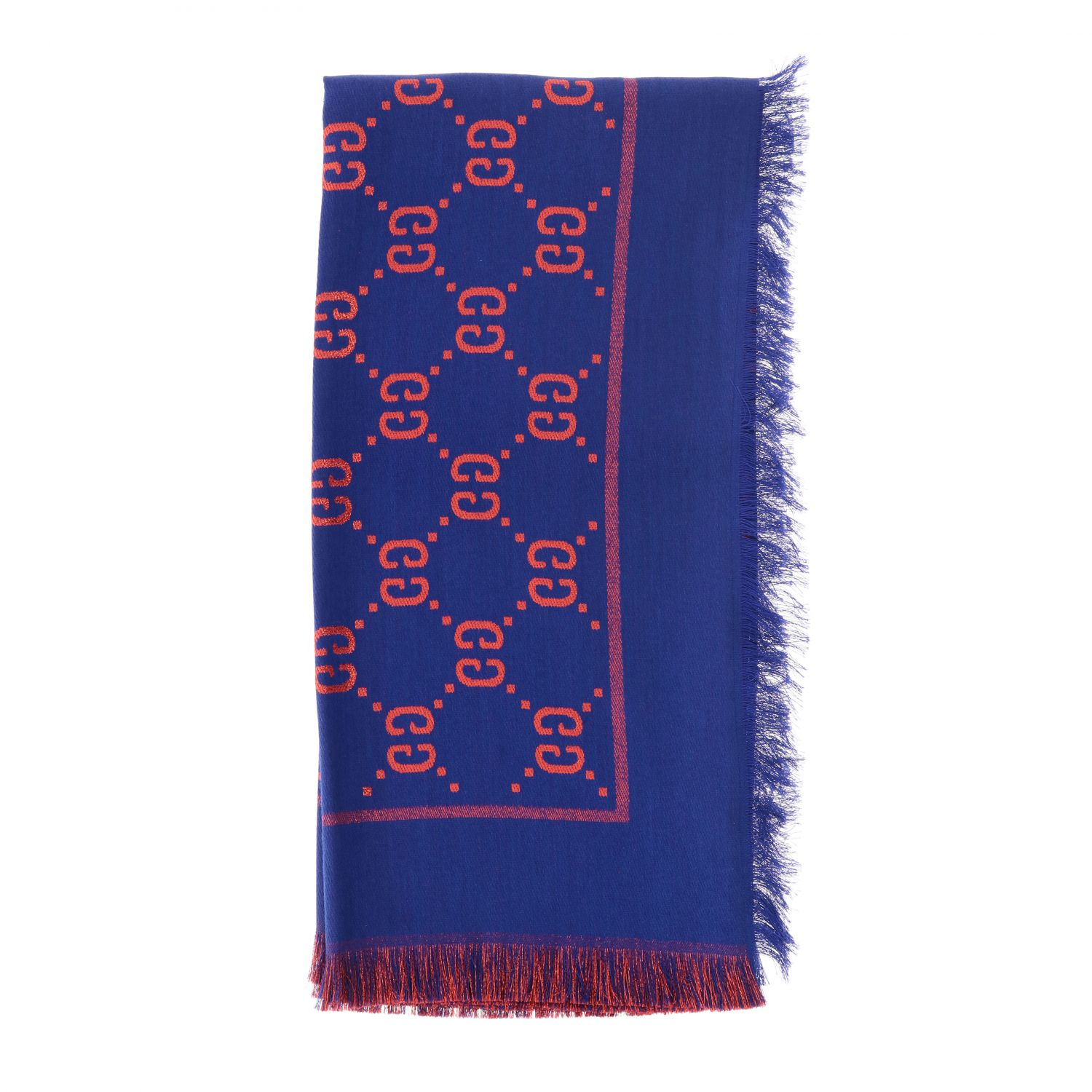 Gucci cotton wool and silk scarf with GG monogram blue 1