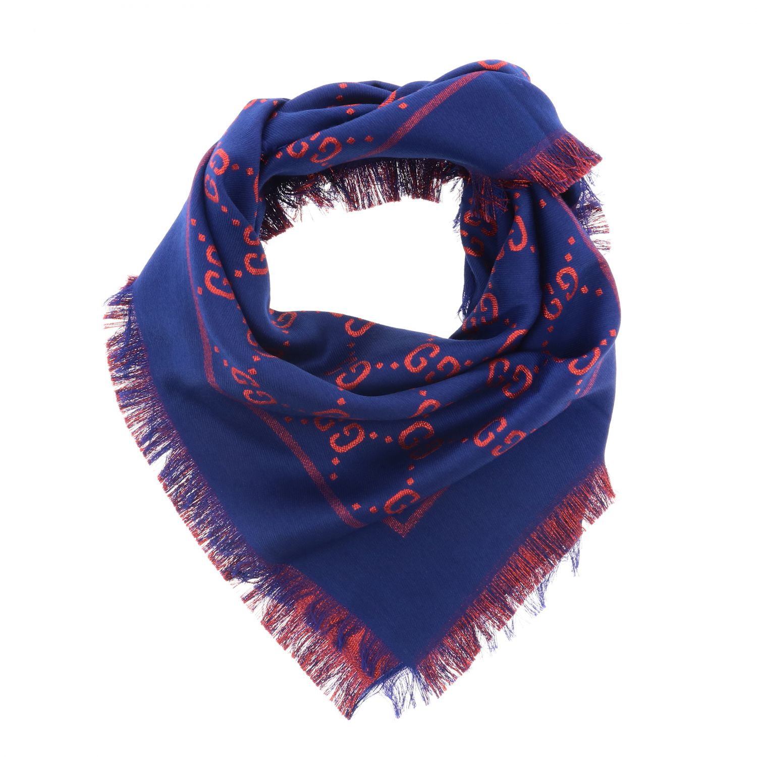 Gucci cotton wool and silk scarf with GG monogram blue 2