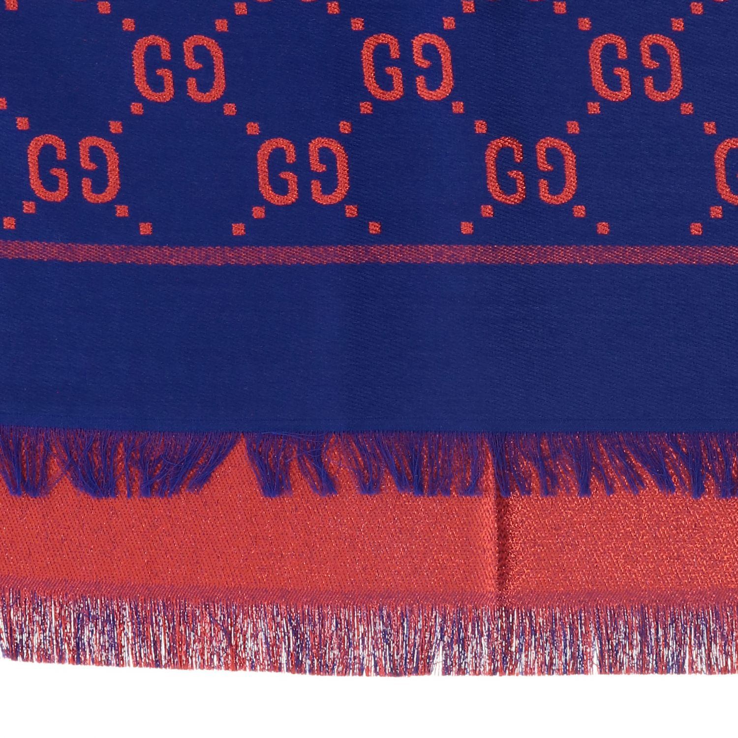 Gucci cotton wool and silk scarf with GG monogram blue 3