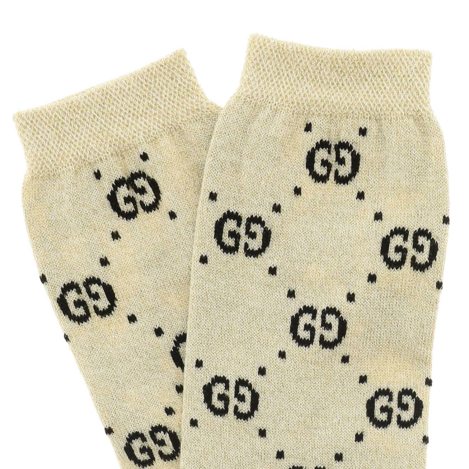 Gucci socks in lurex terry with GG logo all over white 2