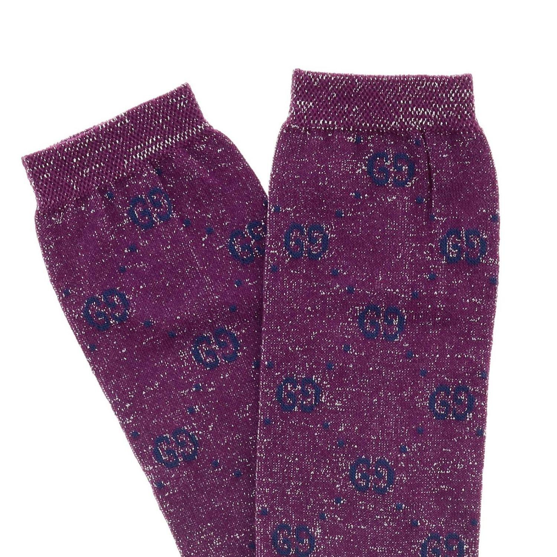 Calcetines Gucci de rizo de lurex con logo GG fucsia 2