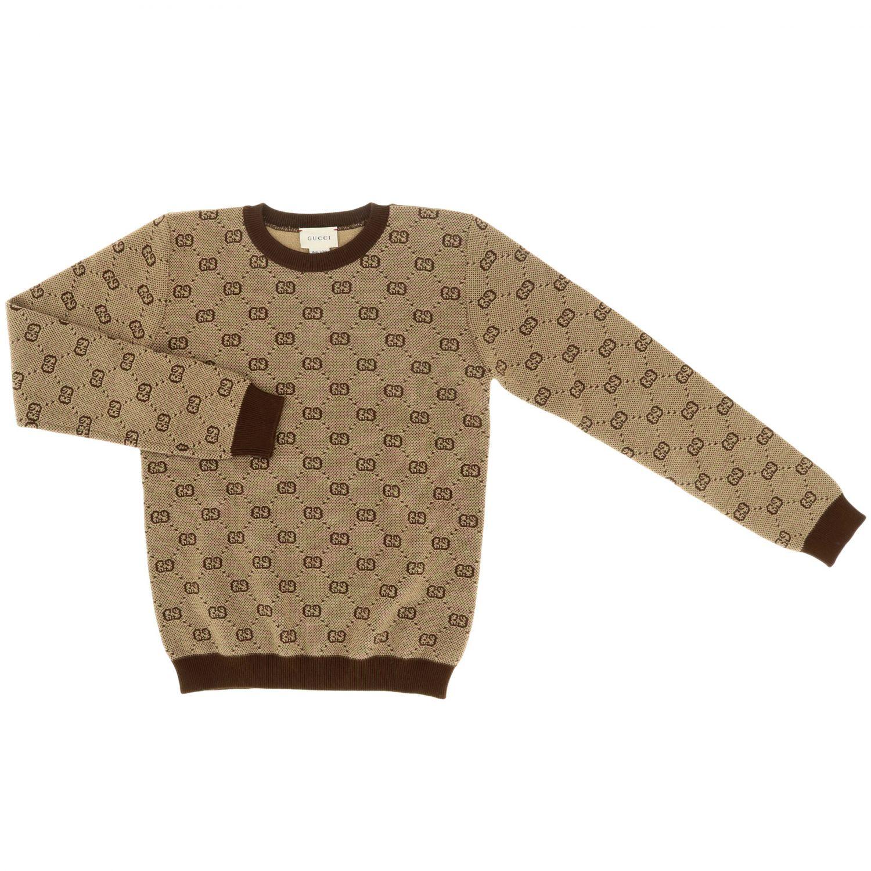 Pullover Gucci a girocollo con logo GG Supreme all over beige 1