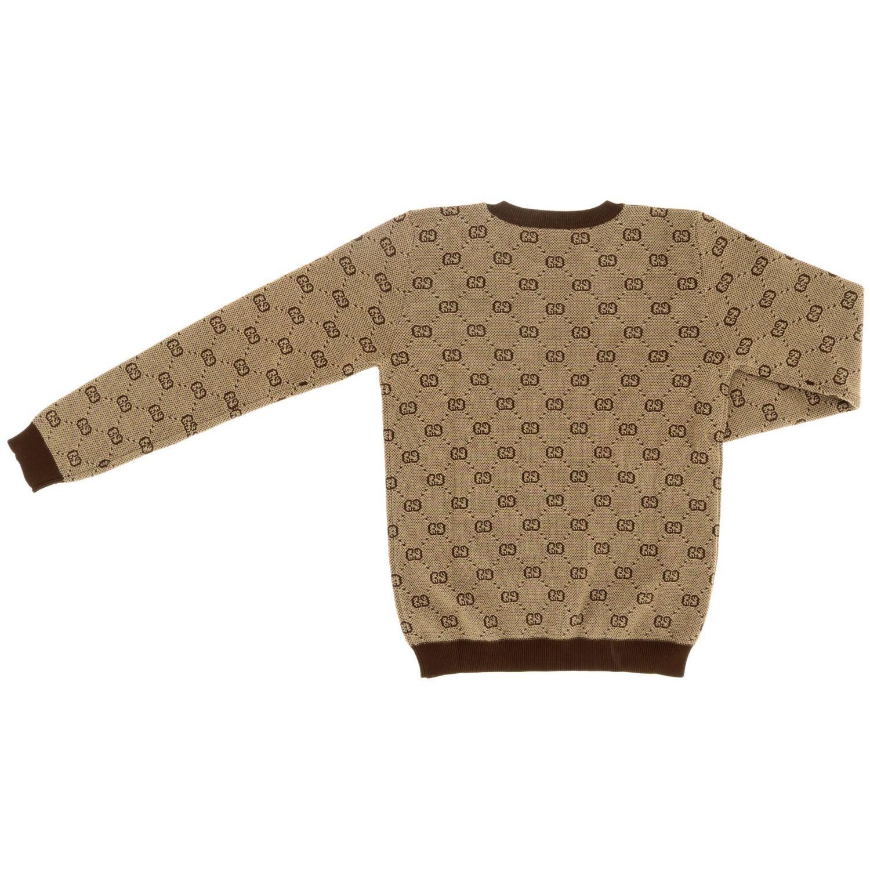 Pullover Gucci a girocollo con logo GG Supreme all over beige 2