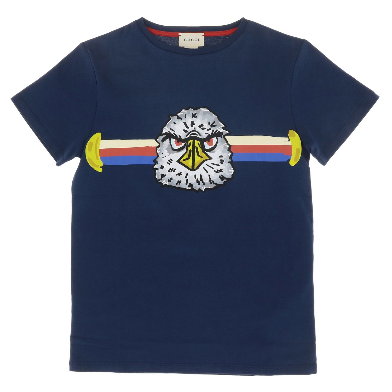 T-shirt Gucci: T-shirt à manches courtes Gucci avec maxi impression web aigle bleu 1