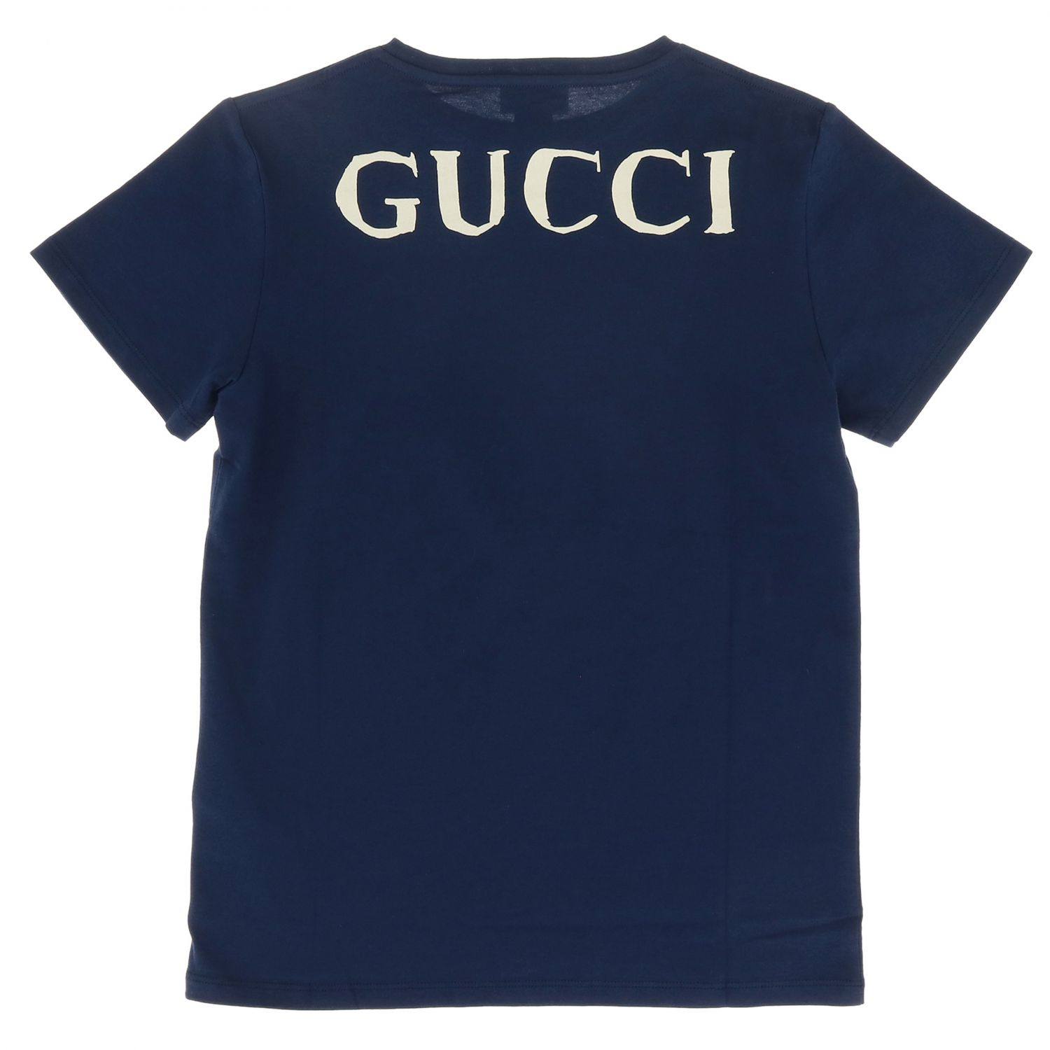 Gucci short-sleeved T-shirt with eagle web maxi pattern blue 2
