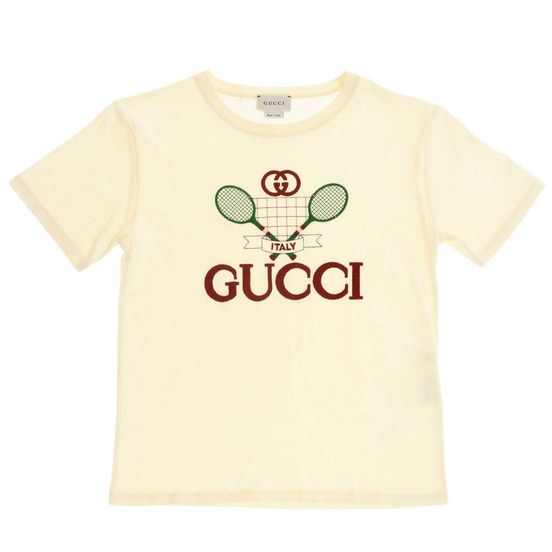 T-shirt Gucci: Gucci short-sleeved T-shirt with maxi tennis logo yellow 1